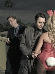 Some of the Mad Men cast members did a shoot for Playboy. No it's not Joan or any of the other girls, it is a fashion spread with the guys in their vintage-inspired suits. Not even Don is in it.