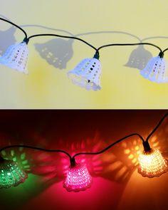 Crochet bells as Christmas lights