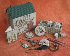 The completed project ~ Home Sweet Home Etui Box by Carolyn Pearce ~ embroidered by Janet Granger