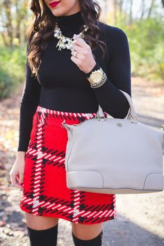knee high socks red plaid skirt holiday outfits pearl statement necklace holiday party outfit holiday outfit ideas grace wainwright from a southern drawl Fashion Blogger Style, Look Fashion, Womens Fashion, Fashion Bloggers, Fashion Clothes, Fashion Shoes, Fashion Jewelry, Fall Winter Outfits, Autumn Winter Fashion