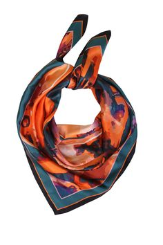 orange paint splash silk scarf by FABRYAN £80