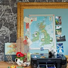map in giant frame, just don't know about gold?