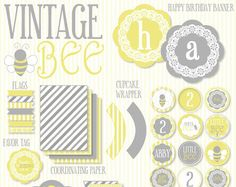Custom Bee Party PRINTABLE Birthday Party from Love by lovetheday