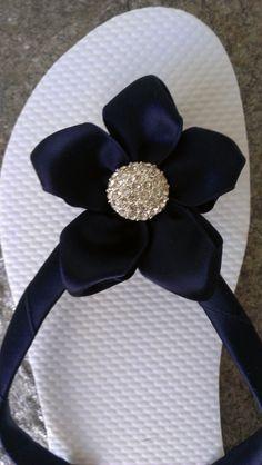 Marine Blue Colored Wedding Bridal Party Flip Flops by IslandToes, $35.00