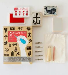 Add a personal touch to your snail mail and notes with this DIY stamp carving kit. You can carve whatever you like or use one of the included templates.