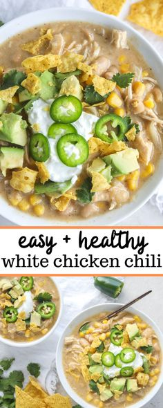 This Easy White Chicken Chili Recipe is the perfect healthy and cozy meal. Made with chicken, beans, chiles, and more, this dish is full of flavor and is ready in under 40 minutes. Chili Recipe Stovetop, Chili Recipes, Crockpot White Chicken Chili, White Bean Chicken Chili, White Bean Chili, Soup Recipes, Salad Recipes, Keto Recipes, Recipies