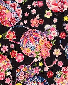 Japanese Import - Sakura - Blossoming Temari Balls - Quilt Fabrics from… Japanese Textiles, Japanese Prints, Japanese Design, Chinese Patterns, Japanese Patterns, Japanese Paper, Japanese Fabric, Textures Patterns, Print Patterns