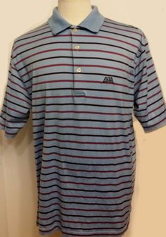 Peter Millar Men's Polo Golf Shirt Blue Striped Cotton Short Sleeve Size L #PeterMillar #PoloRugby