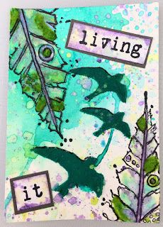 Stampotique Sentiment and Feathers, Dina Wakely Stencil, Dylusions Sprays, Lindy's Stamp Gang