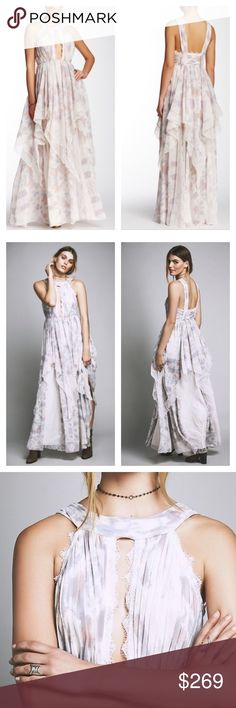 """Free People Ivory Tower plunging neck Maxi Dress Absolutely beautiful and romantic maxi dress with plunging cutout at the bust with delicate lace detailing. Gathered detailing along the bust. Exposed back. Tiered skirt with lace inset. Hidden side zip closure. Fully lined. Color: cloud combo. Empire waist: 24"""", length: 58"""". Free People Dresses Maxi"""