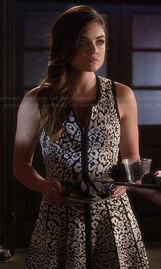 Aria's black and white leopard print dress on Pretty Little Liars.  Outfit Details: http://wornontv.net/43701/ #PLL