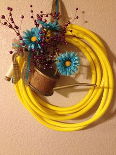 Garden Hose Water Can Wreath by ThePinkMooseColorado on Etsy, $30.00