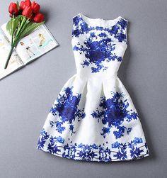 [ $23.00 ] Retro print zipper sleeveless dress  B620971