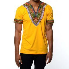 Men's African Print Dashiki T-Shirt (Gold)