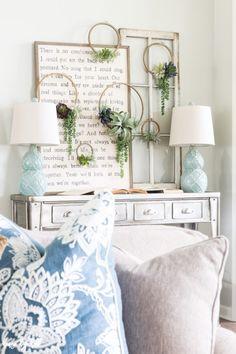 Coastal Inspired Summer Mantel and Living Room