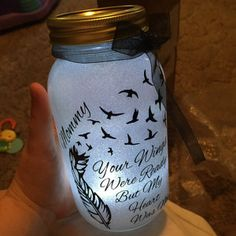 Solar powered Glitter memorial mason jar - feel you in my heart forever light - remembrance gift - memorial lantern - mason jar decor Solar Mason Jars, Glitter Mason Jars, Mason Jar Gifts, Chalk Paint Mason Jars, Painted Mason Jars, Cemetary Decorations, Fall Decorations, Remembering Mom, Remembrance Gifts