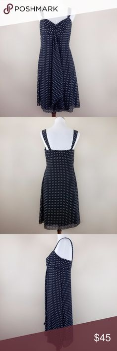 Tahari ASL Black and White Polka Dot Sundress Tahari by Arthur S. Levine black and white polka dot dress. Comes with cute tapered straps, a sweetheart neckline, and fluttery lightweight layers that moves with each step. Flattering empire waist that hugs the waist with a satiny lining under the sheer top layers.  Flat lay approx measurements: Bust - 16 in (underarm to underarm) Waist - 15 in (across smallest part of the torso) Length - 38 in (top of the shoulder to the bottom hem) Tahari…