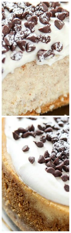 Cannoli Cheesecake ~ Rich and creamy Italian cheesecake topped with plenty of chocolate chips... Your favorite Italian dessert in cheesecake