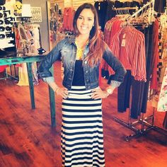 0204eb7ed3080b Adorable wide striped black/white maxi skirt with our black tank and dark  wash ombre
