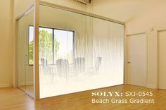 "SOLYX: SXJ-0545 Beach Grass Gradient - A beautiful gradient of beach grass surrounded by mist, fading from solid white to clear. Perfect for graduated privacy. Supplied per running ft x 71"" high."
