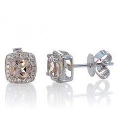 14 Karat White Gold Cushion Cut Morganite Diamond Halo by SAMnSUE, $550.00