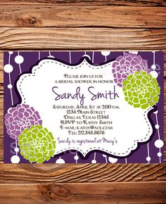 Bridal shower Invitation,Bridal Shower Invite, Purple Flowers Wedding Shower Invitation,Purple Wedding Shower, digital,printable, 5053 by StellarDesignsPro on Etsy https://www.etsy.com/listing/94560767/bridal-shower-invitationbridal-shower