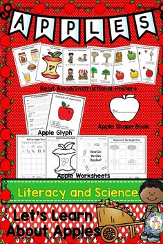 Let's Learn About Apples is a unit your kids will have fun with and learn a lot about apples.The read aloud/instructional posters can be used in whole group to give the students the background knowledge about apples that they will need to complete the other included activities. The information given in these pages can lead to shared/guided writing lessons and higher level thinking.  Included in this unit are: • Read Aloud/Instructional Posters • Apple Shape Book • Apple Worksheets • Apple…