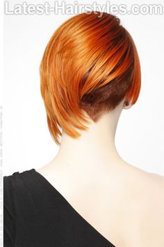 Short Undercut Hairstyle with Orange Color Back View
