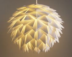 White Spiky Pendant Light - Overlapping Folds Origami Paper Hanging Lamp SHADE ONLY. $175.00, via Etsy.