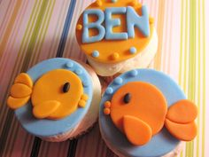 goldfish trio fondant cupcake toppers with name fish with bubbles, under the sea, blue and orange. $14.00, via Etsy.