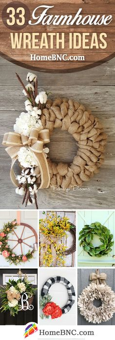 These could be made with recycled things...just saying!  Rustic Farmhouse Wreath Ideas #recyclingideasdiy