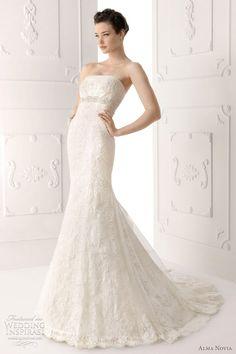 Silva strapless lace wedding dress