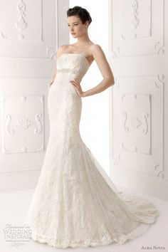 Silva strapless lace wedding dress