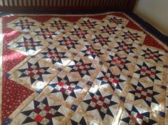 Patriotic Ohio Star quilt top set on point. Perfect gift for family friend Dixie!