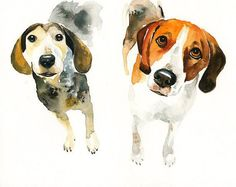 CUSTOM of your favorite couple OF PETS Original watercolor painting 8x10inch