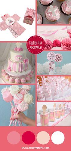 Pink party / fiesta rosa  Invitación y cajita de www.4partycrafts.com