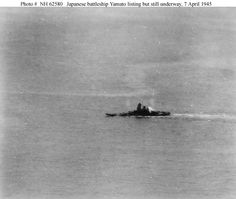 h62580.jpg (740×625) Battleship Yamato listing but still underway , 7 April 1945