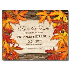 Fall Wedding Save The Date Postcard #Fall #Wedding #Autumn #SaveTheDate