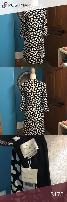 Kate Spade Black and White Heart Dress Item is brand new with tags! Beautiful dress for the upcoming fall days! kate spade Dresses