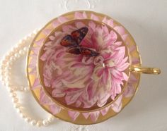 Pink Aynsley Butterfly Tea Cup & Saucer by TheEclecticAvenue on Etsy https://www.etsy.com/listing/205218260/pink-aynsley-butterfly-tea-cup-saucer