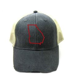 e71cb77fdc9 Georgia Hat - Distressed Snapback Trucker Hat - Georgia State Outline -  Many Colors Available State