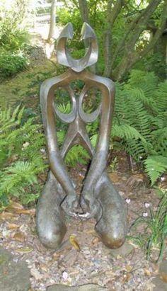 Bronze Abstract Garden sculpture by artist Veale Anthony titled: 'Dust (bronze kneeling modern art nude sculpture)' £12000 #sculpture #art