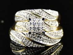 His Her 10K Gold Plated Cluster Engagement Wedding Diamond Ring Trio Band Set #br925silverczjewelry