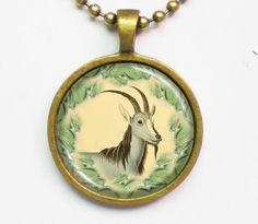 Nature Inspired Necklace- Goat, Capra Jubata- Classic Natural