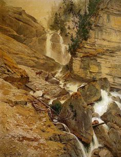 by Heinrich Gogarten Mountain Landscape, Rivers, Landscape Paintings, Grand Canyon, Oil, Nature, Travel, Naturaleza, River