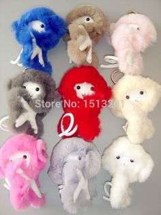 9 colors Cute Monkey Real Genuine Rex Rabbit Fur KeyChains Ring Monster Pendant Bag Charm Handbag Backpack Accessories with Box