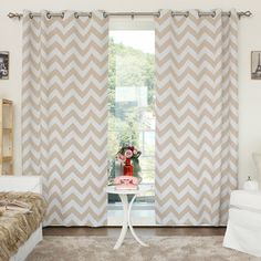 Chevron Print Room Darkening Grommet Top 84-inch Curtain Panel Pair - Overstock™ Shopping - Great Deals on Curtains