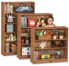 The ultimate in bookcase shelving. Adjust shelves in inch increments. For added stability, recommended wall fastener is included. 36 wide x deep. Preschool Furniture, Classroom Furniture, Kids Furniture, Classroom Cubbies, Kids Bedroom Paint, Tidy Books, Kids Bookcase, Declutter Your Home, Recycled Wood