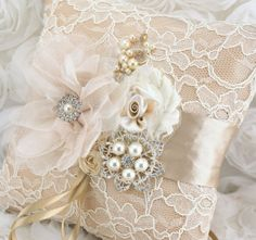 Champagne Ring Bearer Pillow  Bridal Pillow in by SolBijou on Etsy, $125.00