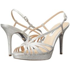 Nina Fenix-YF (Silver) High Heels ($32) ❤ liked on Polyvore featuring shoes, sandals, silver, nina sandals, high heel sandals, silver ankle strap sandals, ankle strap shoes and ankle tie sandals